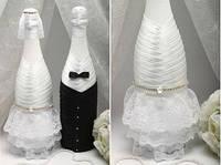 Декор для шампанского Жених и Невеста white
