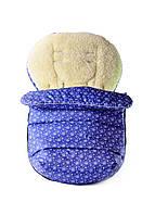 Теплый зимний конверт - чехол для коляски DavLu Снежинки на синем (K-205)