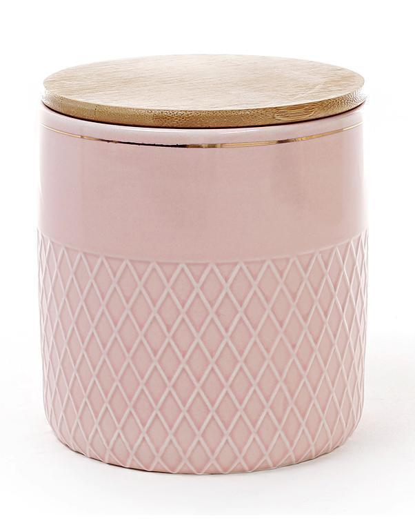 Банка Gold Star-107 для сыпучих продуктов 1000мл с бамбуковой крышкой, розовая (psg_BD-945-107)