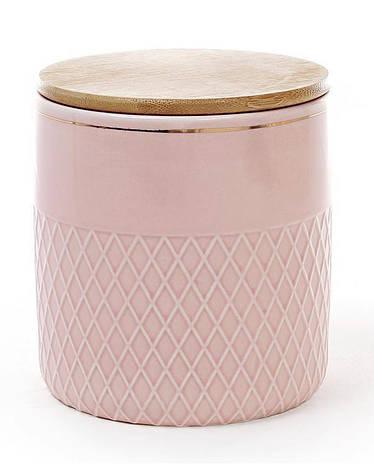 Банка Gold Star-107 для сыпучих продуктов 1000мл с бамбуковой крышкой, розовая (psg_BD-945-107), фото 2