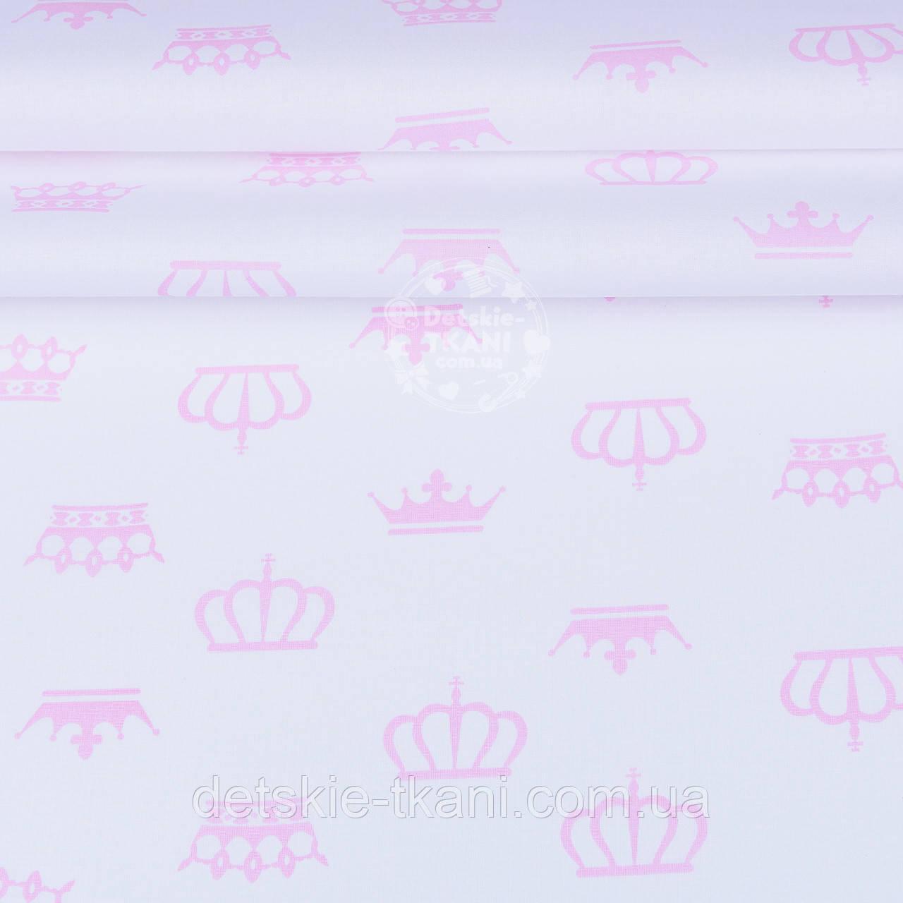 Отрез ранфорса с розовыми коронами на белом фоне (№1218), 65*220