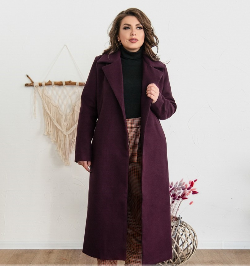 Элегантное женское пальто из кашемира без застежек №318-1-Марсала