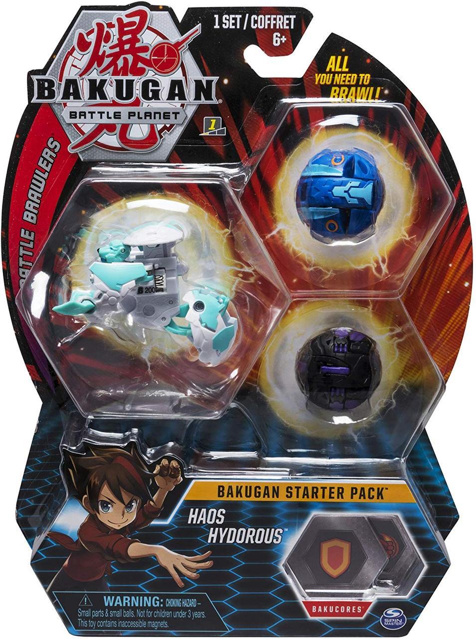 Стартовый Набор из 3 бакуганов Хаос Гидориус Bakugan Battle planet Haos Hydorous Starter Pack  Spin Master