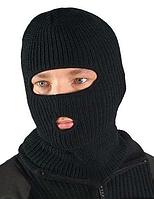 """Шапка-маска балаклава """"REIS"""" зимова (подвійна в'язання), чорна"""