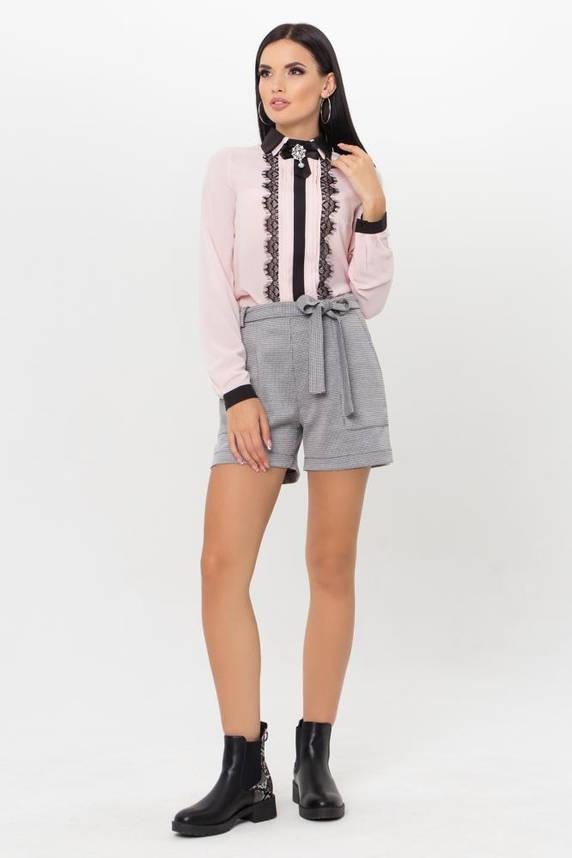 Нарядная блузка с кружевом цвета пудра, фото 2