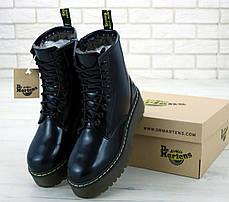 Женские ботинки Dr.Martens Black JADON кожа, ЗИМА черные. ТОП Реплика ААА класса., фото 3