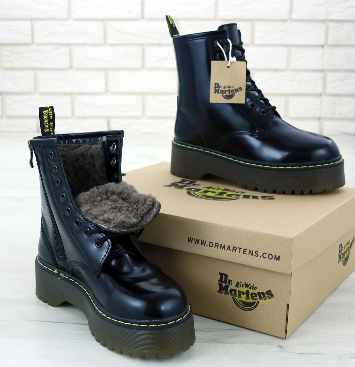 Женские ботинки Dr.Martens Black JADON кожа, ЗИМА черные. ТОП Реплика ААА класса.