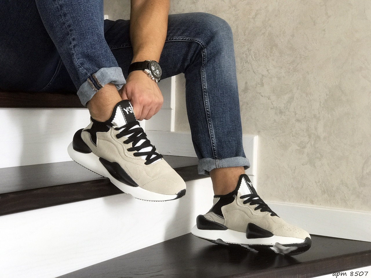 Мужские кроссовки Adidas Y-3 Kaiwa (бежевые)