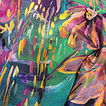 Нюанс 10006-9, павлопосадский шейный платок (крепдешин) шелковый с подрубкой, фото 4