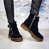 Женские черные замшевые ботинки на байке Gino, фото 1