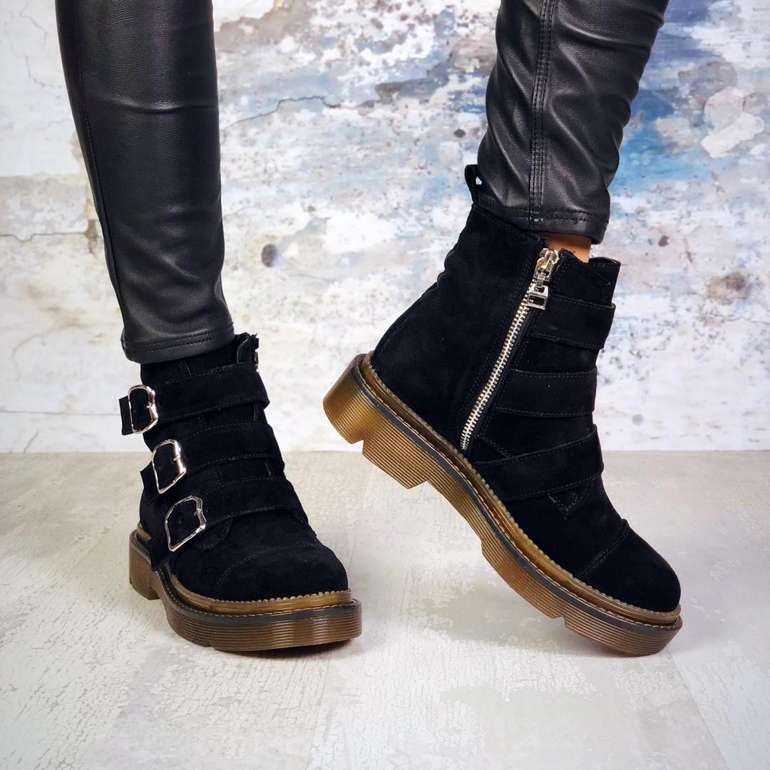 Женские черные замшевые ботинки на байке Gino