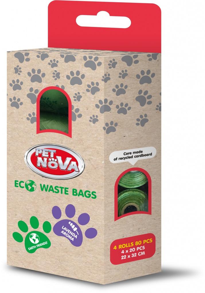 Біорозкладані прибиральні пакети для тварин PET NOVA з ароматом лаванди