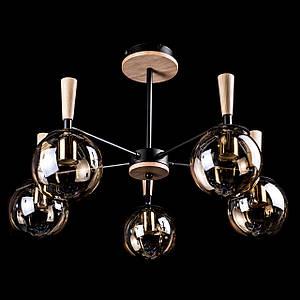 Люстра в стиле лофт на 5 лампочек P5-N3538/5/BK