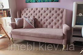 Диванчик на дерев'яних ніжках для кафе чи ресторану (Рожевий)