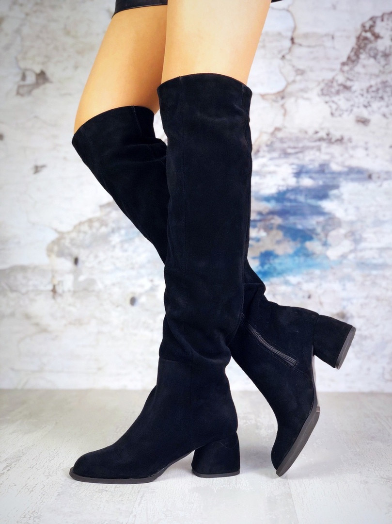 Женские черные замшевые ботфорты Haileys