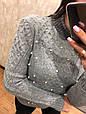 Женский турецкий свитер Бусинка серый  (42-46), фото 3