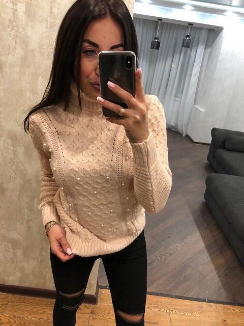 Стильный турецкий свитер Бусинка пудра  (42-46)