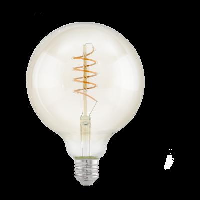 """Лампа Eglo филаментная янтарь """"Спираль"""" LM LED E27 G125 2200K 11683"""