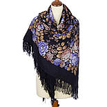 Цветочная сказка 1458-14, павлопосадский платок шерстяной  с шерстяной бахромой, фото 2