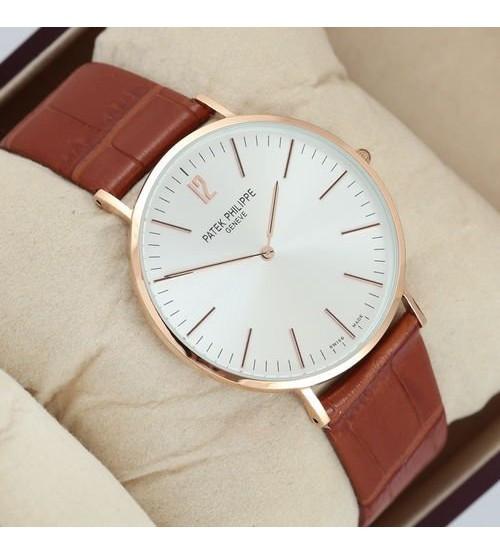 Мужские часы Patek Philippe Calatrava Brown/Gold/White, элитные часы Patek Philippe реплика АА