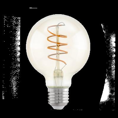 """Лампа Eglo филаментная янтарь """"Спираль"""" LM LED E27 G80 2200K 11722"""