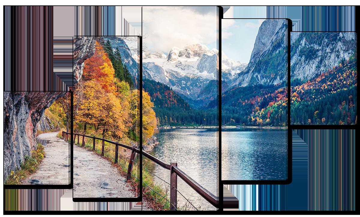Модульная картина Interno Холст Осеннее озеро в горах 123х69см (R3686M)