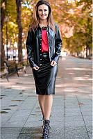 Кожаный костюм с юбкой Рокси  в деловом стиле .