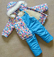 Детский зимний комбинезон для девочки 1-5 лет комплект на овчине, фото 1
