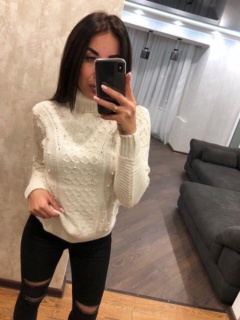 Красивый турецкий свитер Бусинка белый (42-46)