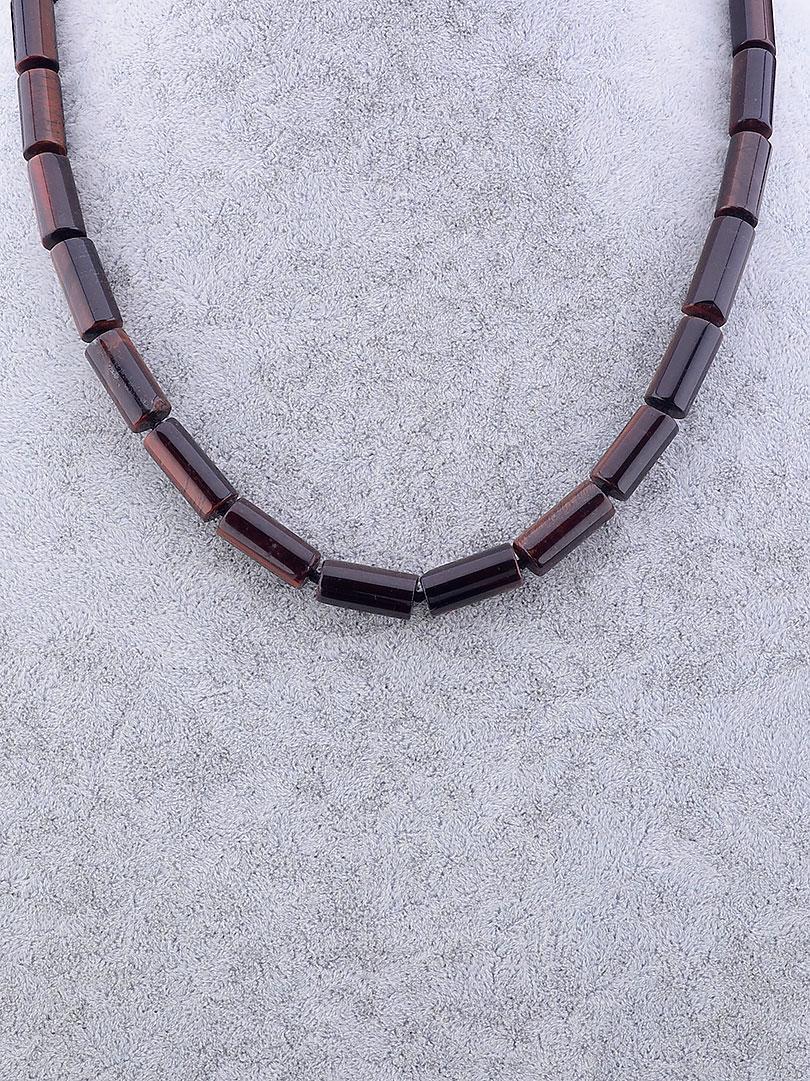 Бусы женские SUNSTONES из натуральных камней Бычий глаз 51 см