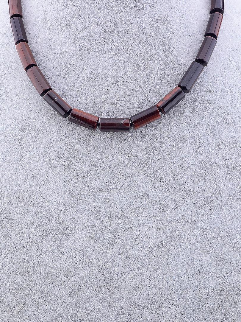 Бусы женские SUNSTONES из натуральных камней Бычий глаз 45 см