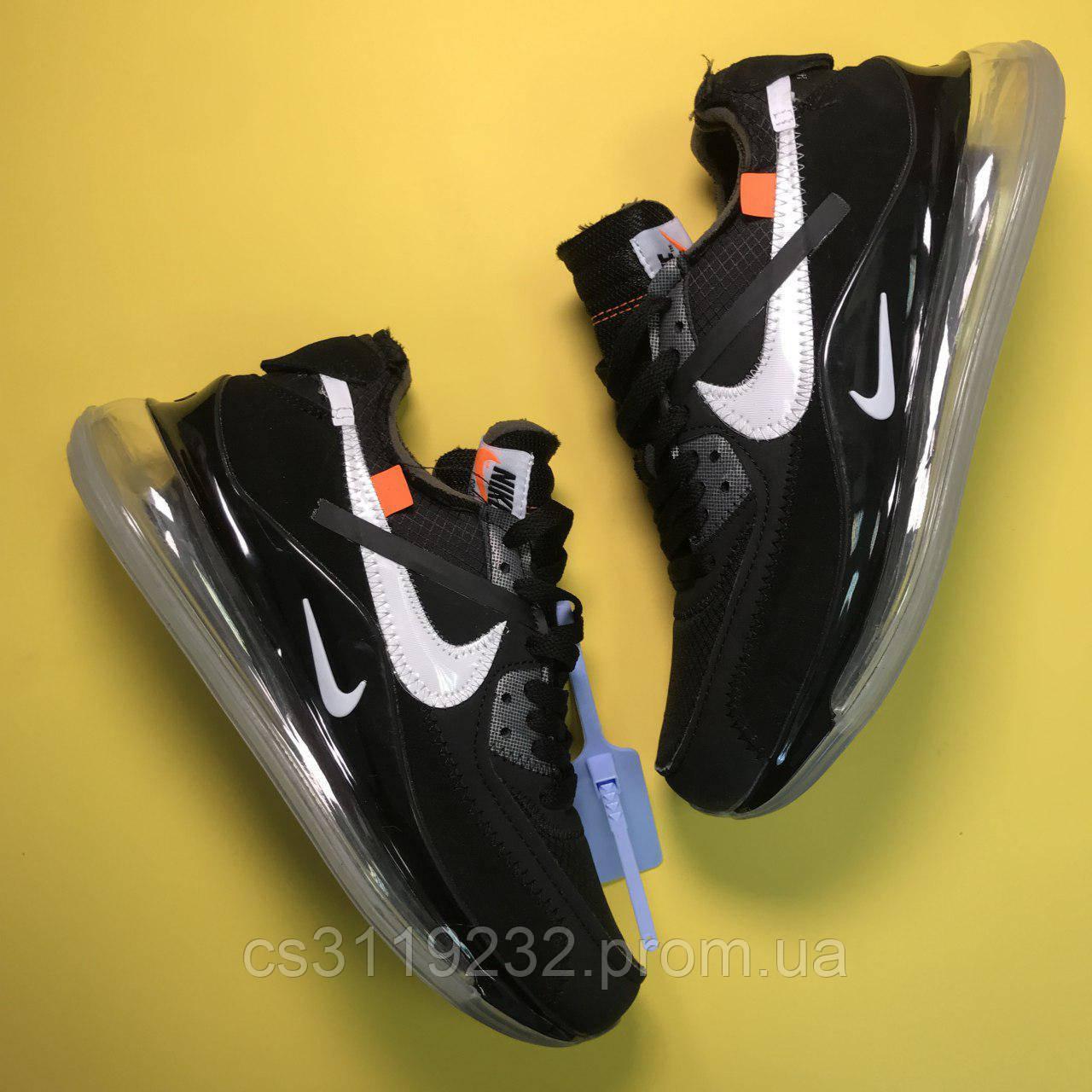 Мужские кроссовки Nike Air Max 720 OFF-White Black (черные)