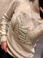 Теплый турецкий свитер Туфелька 7205 белый (42-46)