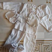 Нарядный крестильный костюм для мальчика 0-3 месяца