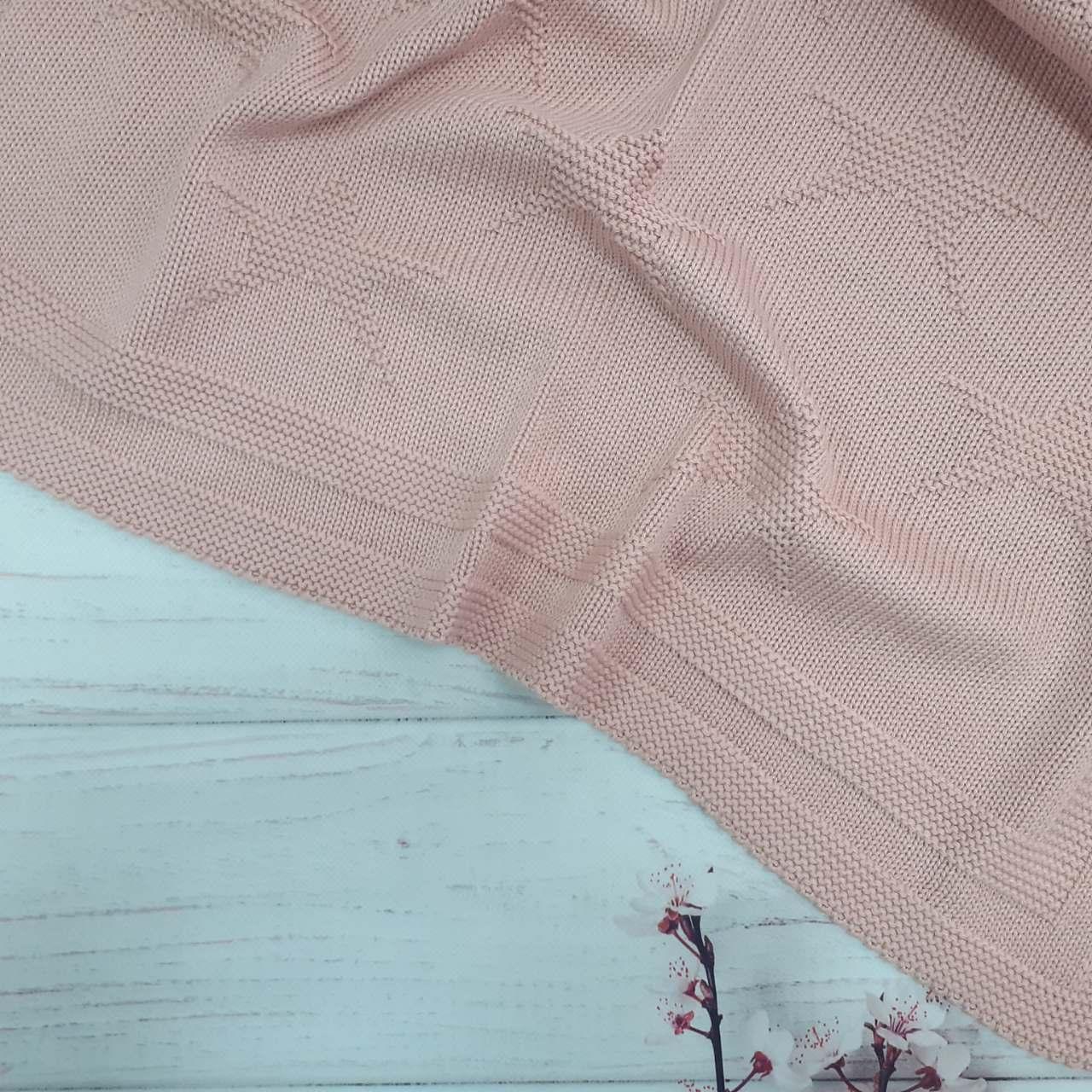 Плед вязанный звезда цвет пудровый 95*75 см (90% хлопок, 10% акрил)