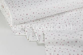 """Тканина ранфорс Туреччина 240 см """"Зорепад"""" (гліттер) брудно-рожевий на білому № WH-0196-3"""