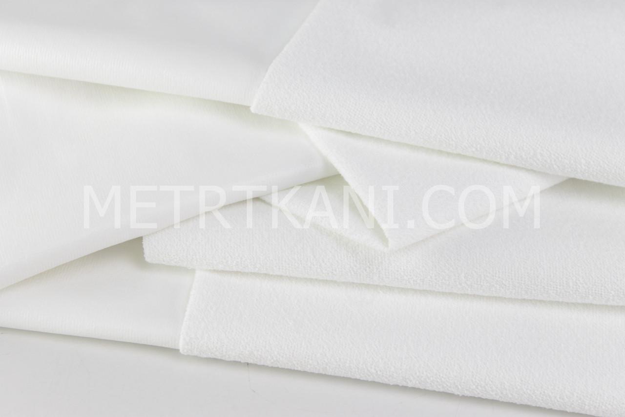 Непромокаемая мембранная,махровая ткань, белого цвета (Турция) 200 г/м/2 № МНП-8