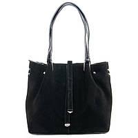 Кожаная сумка черного цвета с замшевым фасадом
