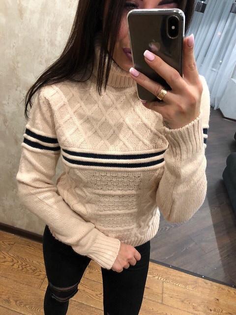 Стильный турецкий свитер Полоса молоко  (42-46)