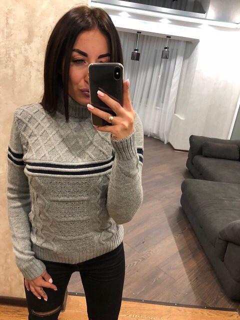 Женский турецкий свитер Полоса серый (42-46)