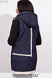 Жилетка прямого кроя с капюшоном на густой овчине, большими карманами и декором из репсовой ленты X11766, фото 2