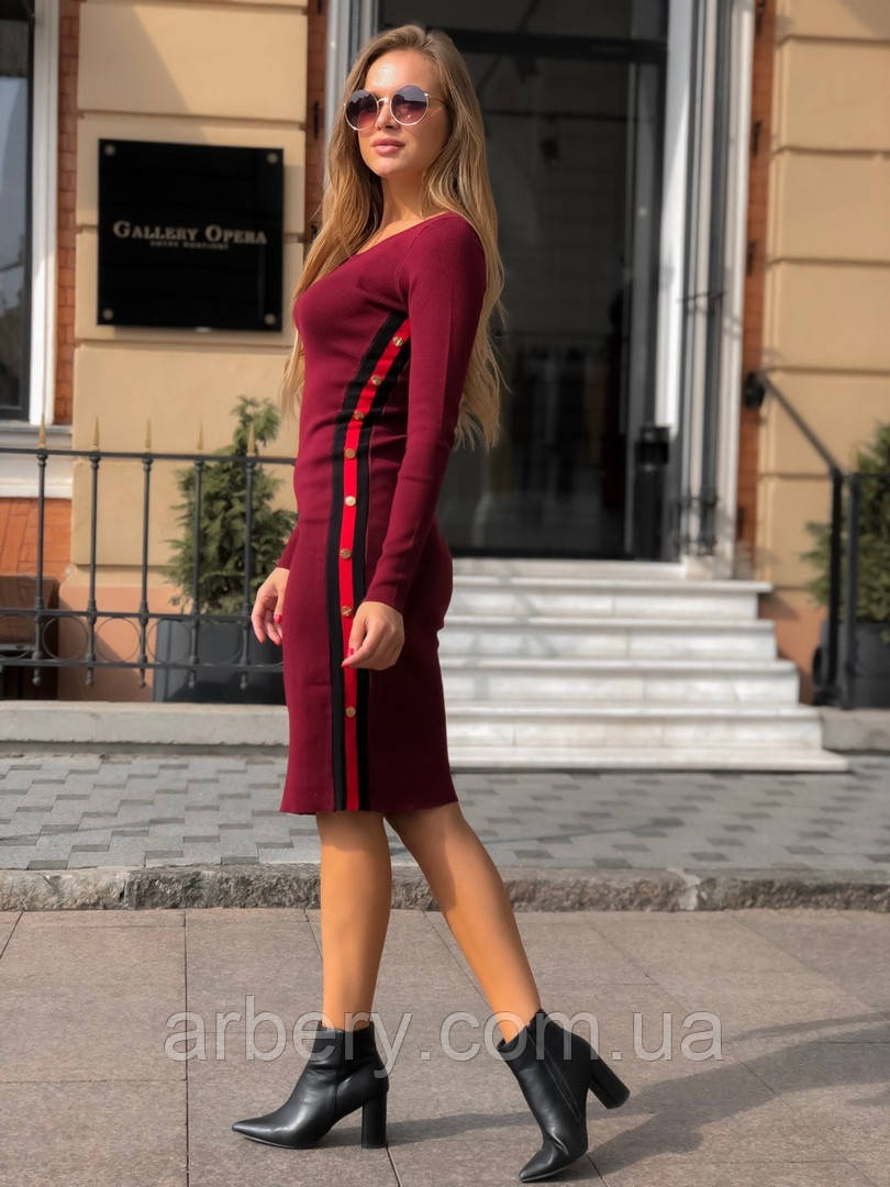 Женское приталенное вязанное платье, фото 1