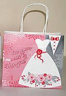 105 Пакет подарочный Свадебный 10х18х20 см