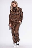 Женский утепленный спортивный костюм на флисе коричневого цвета. Модель 23101. Размеры 42-46