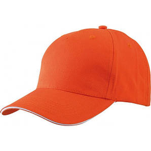 Бейсболка пятипанельная Оранжевый / Белый
