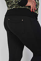 Лосины женские утеплённые большие размеры черные микродайвинг на флисе №04170 с карманами
