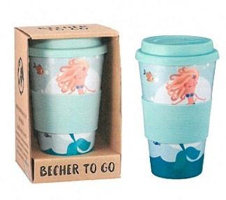 Кофейная кружка to go becher 350ml bambus Mermaid