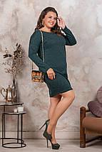 """Короткое ангоровое платье """"ВЕРА"""" с карманами и длинным рукавом (большие размеры), фото 3"""