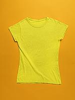 Женская футболка желтая хлопок для нанесения надписей и принтов методом шелкографии или для прямой печати