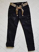 ЧЁРНЫЕ Джинсы утеплённые на флисе для девочек ,размеры 6-16,Фирма S&D.Венгрия